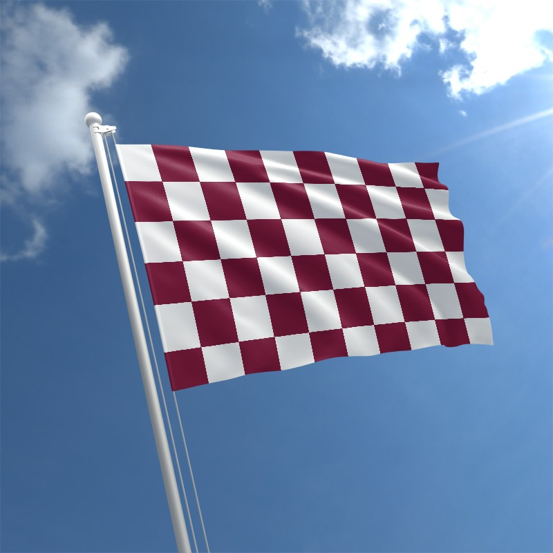 maroon white check flag std